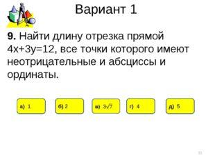 Вариант 1 * 9. Найти длину отрезка прямой 4х+3у=12, все точки которого имеют