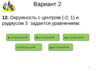 Вариант 2 12. Окружность с центром (-2; 1) и радиусом 3 задается уравнением:
