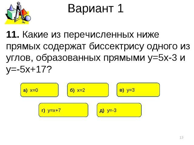 Вариант 1 11. Какие из перечисленных ниже прямых содержат биссектрису одного...