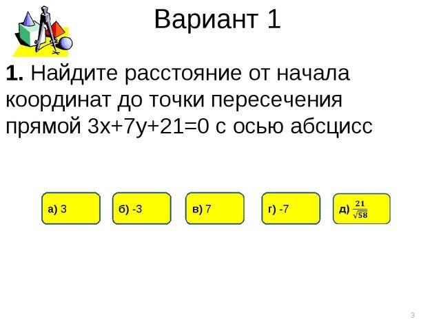 Вариант 1 в) 7 а) 3 б) -3 * 1. Найдите расстояние от начала координат до точк...