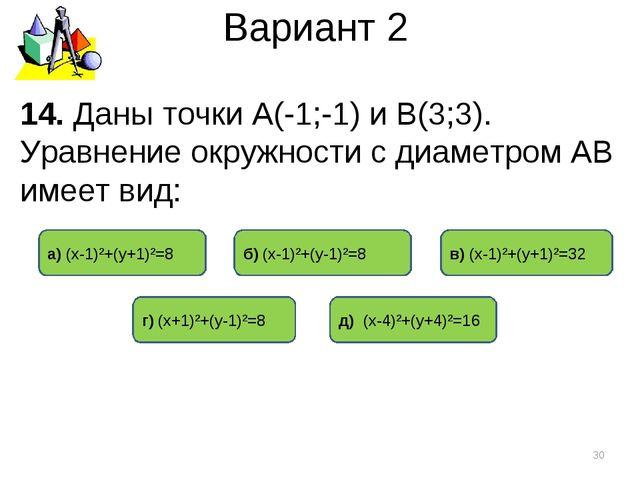 Вариант 2 * 14. Даны точки А(-1;-1) и В(3;3). Уравнение окружности с диаметро...