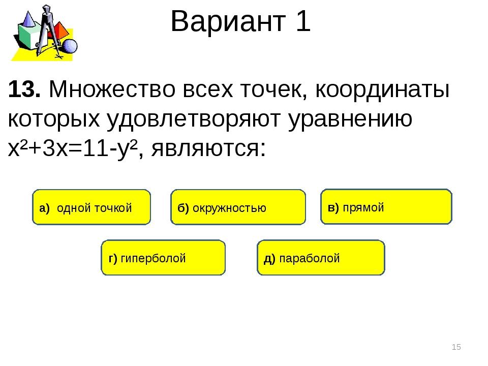Вариант 1 * 13. Множество всех точек, координаты которых удовлетворяют уравне...