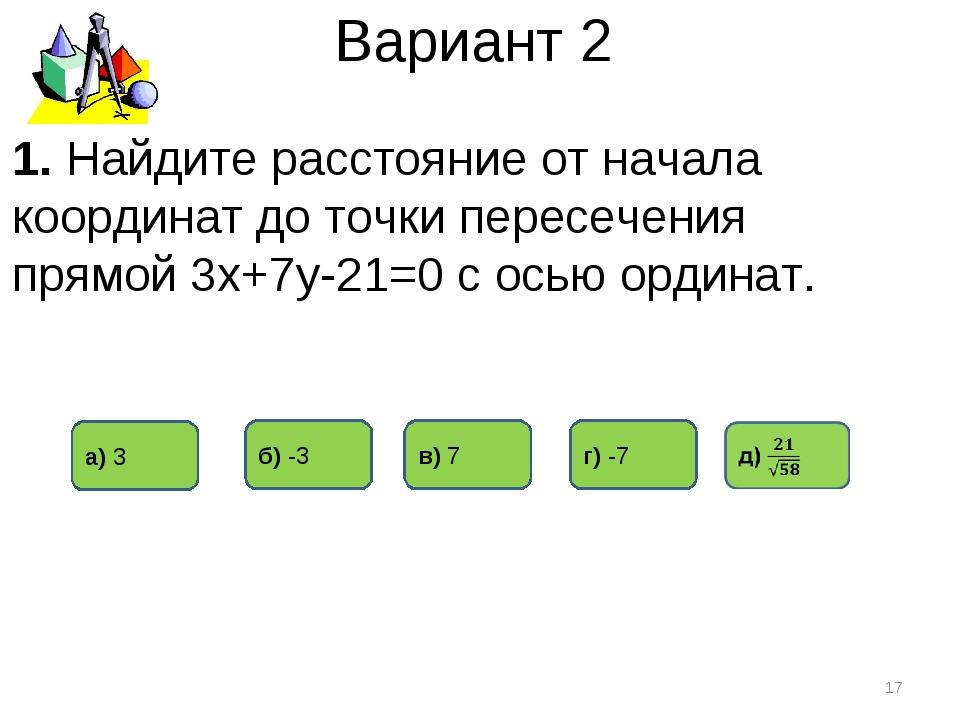 Вариант 2 а) 3 в) 7 б) -3 * 1. Найдите расстояние от начала координат до точк...