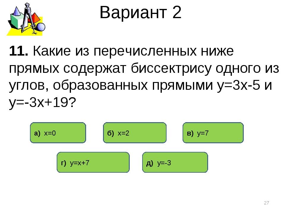 Вариант 2 11. Какие из перечисленных ниже прямых содержат биссектрису одного...