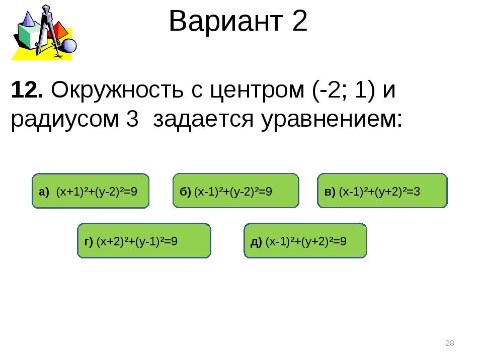 Вариант 2 12. Окружность с центром (-2; 1) и радиусом 3 задается уравнением:...