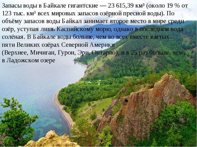 Запасыводыв Байкале гигантские— 23 615,39 км³ (около 19% от 123 тыс. км³...
