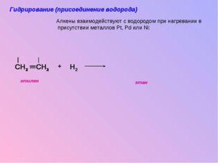 CH3 CH3 CH2 CH2 H H2 H + Алкены взаимодействуют с водородом при нагревании в