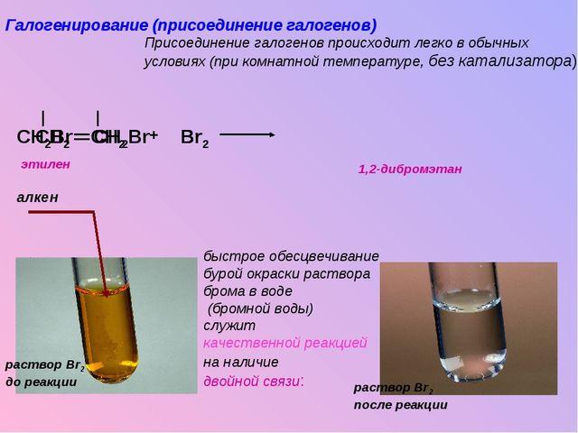 CH2 CH2 CH2Br CH2Br Br Br2 Br + Галогенирование (присоединение галогенов) При...