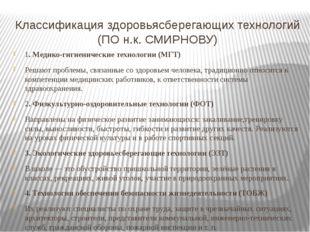 Классификация здоровьясберегающих технологий (ПО н.к. СМИРНОВУ) 1. Медико-гиг
