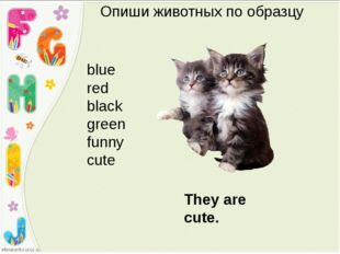 Опиши животных по образцу blue red black green funny cute They are cute.