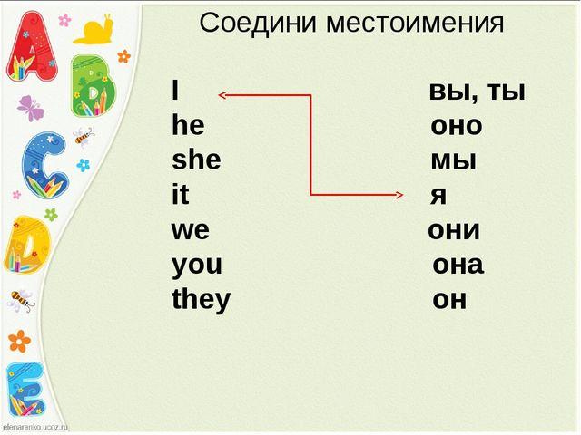 Соедини местоимения I вы, ты he оно she мы it я we они you она they он