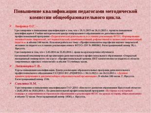 Повышение квалификации педагогами методической комиссии общеобразовательного