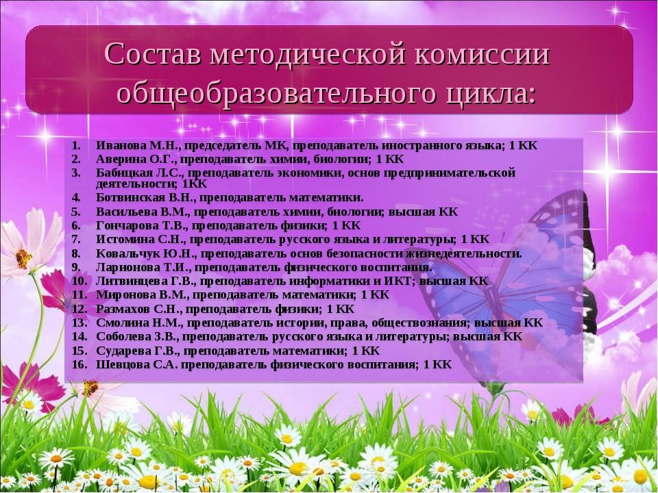 Иванова М.Н., председатель МК, преподаватель иностранного языка; 1 КК Аверина...