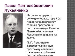 Павел Пантелеймонович Лукьяненко Нет в мире другого селекционера, который бы