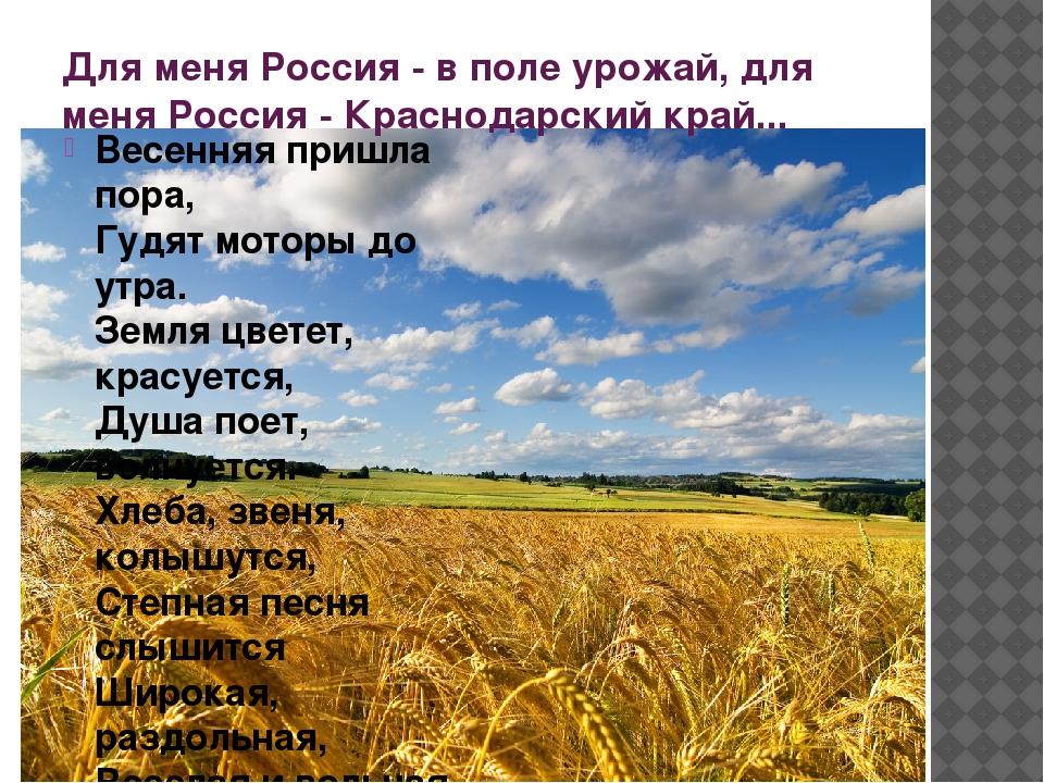 Для меня Россия - в поле урожай, для меня Россия - Краснодарский край... Весе...