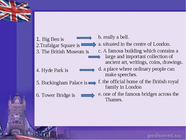 1. Big Ben is 2.Trafalgar Square is 3. The British Museum is 4. Hyde Park is...