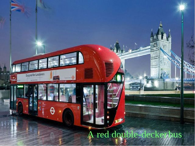 A red double-decker bus