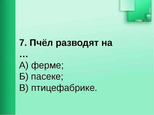 7. Пчёл разводят на … А) ферме; Б) пасеке; В) птицефабрике.