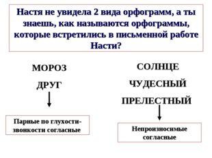 МОРОЗ ДРУГ Настя не увидела 2 вида орфограмм, а ты знаешь, как называются орф