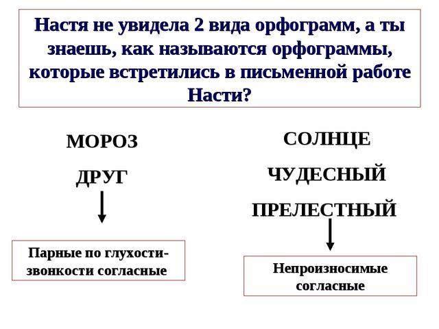 МОРОЗ ДРУГ Настя не увидела 2 вида орфограмм, а ты знаешь, как называются орф...