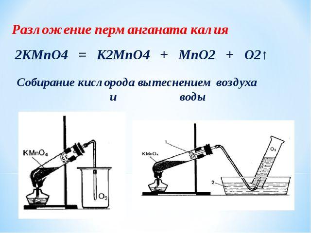 Разложение перманганата калия 2KMnO4 = K2MnO4 + MnO2 + O2↑ Собирание кислород...