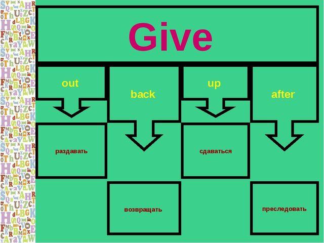 Give out back up after раздавать сдаваться преследовать возвращать