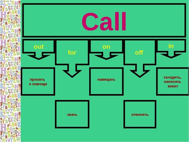 Call out for on in off просить о помощи отменять навещать заходить, наносить...