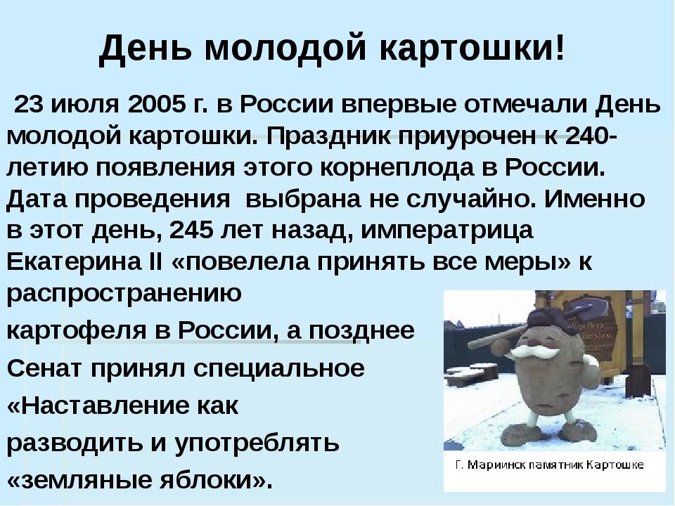 День молодой картошки!   23 июля 2005 г. в России впервые отмечали День моло...