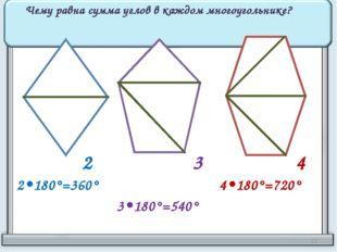 2 3 4 Чему равна сумма углов в каждом многоугольнике? 2•180°=360° 3•180°=540°