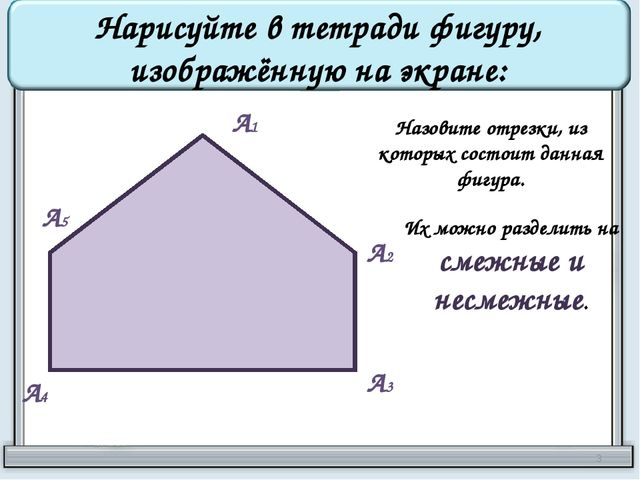 Нарисуйте в тетради фигуру, изображённую на экране: А1 А2 А3 А4 А5 Назовите о...