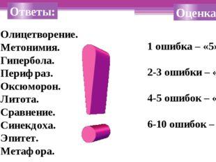 Ответы: Олицетворение. Метонимия. Гипербола. Перифраз. Оксюморон. Литота. Сра