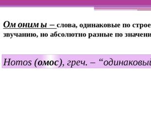 Омонимы – слова, одинаковые по строению, звучанию, но абсолютно разные по зна