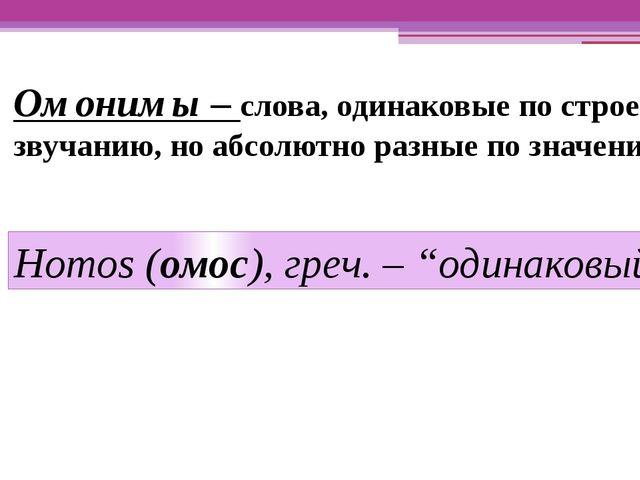 Омонимы – слова, одинаковые по строению, звучанию, но абсолютно разные по зна...