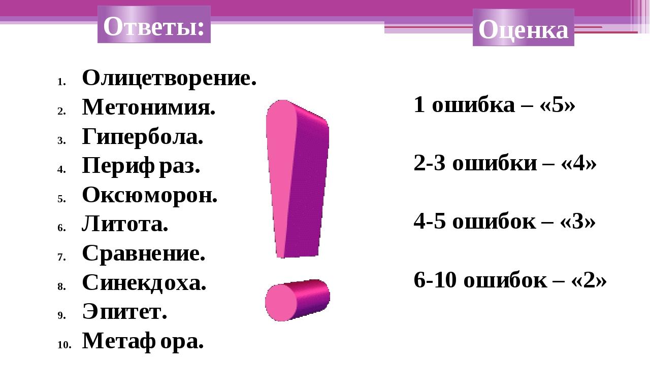Ответы: Олицетворение. Метонимия. Гипербола. Перифраз. Оксюморон. Литота. Сра...
