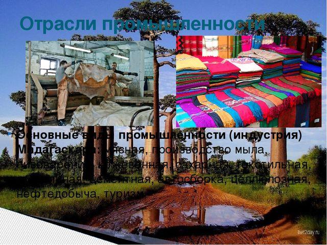 Основные виды промышленности (индустрия) Мадагаскара:мясная, производство мы...