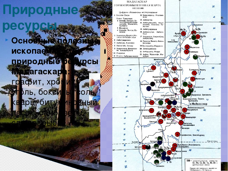 Основные полезные ископаемые и природные ресурсы Мадагаскара: графит, хромит,...