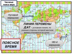 ПОЯСНОЕ ВРЕМЯ Часовые пояса мира ЛИНИЯ ПЕРЕМЕНЫ ДАТ - условная линия, по разн