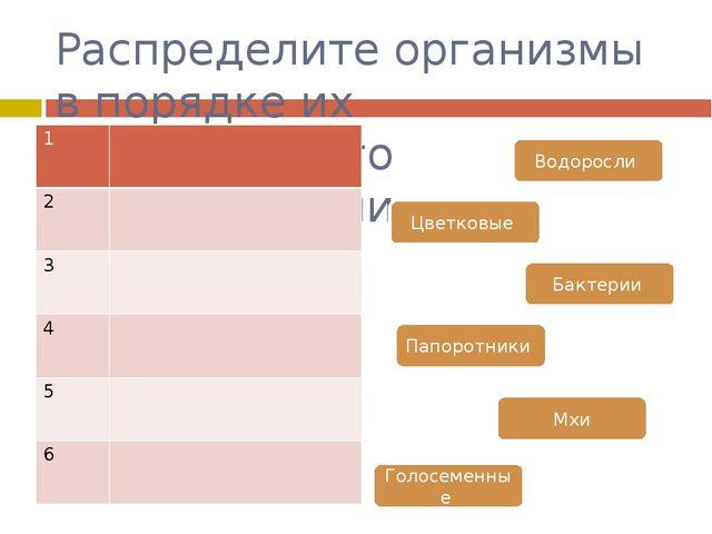Распределите организмы в порядке их исторического происхождения Водоросли Цве...