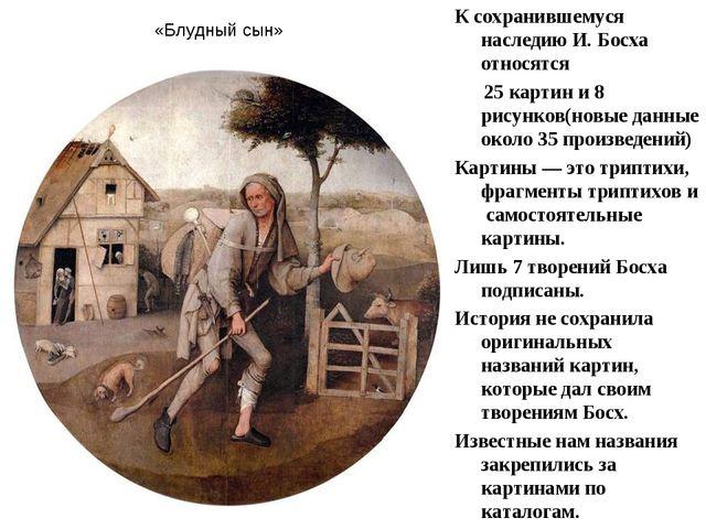К сохранившемуся наследию И. Босха относятся 25 картин и 8 рисунков(новые дан...