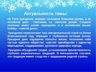Актуальность темы: На Руси праздники нередко называли Божьими днями, а их ос