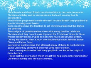 Both Russia and Great Britain has the tradition to decorate houses for Christ