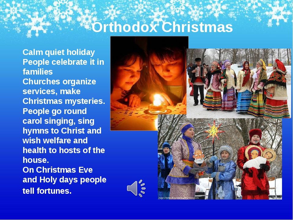 Orthodox Christmas Calm quiet holiday People celebrate it in families Churche...