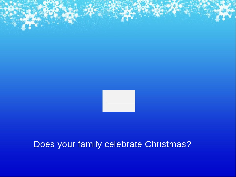 Does your family celebrate Christmas?