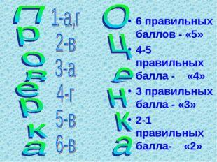 6 правильных баллов - «5» 4-5 правильных балла - «4» 3 правильных балла - «3»