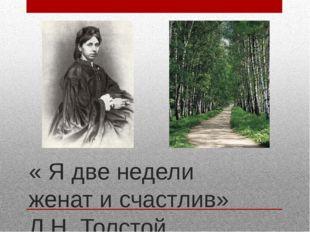 « Я две недели женат и счастлив» Л.Н. Толстой