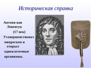 Историческая справка Антони ван Левенгук (17 век) Усовершенствовал микроскоп