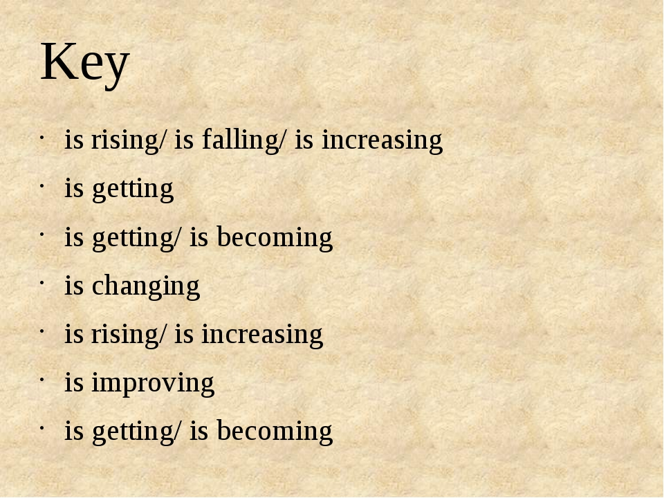 Key is rising/ is falling/ is increasing is getting is getting/ is becoming i...