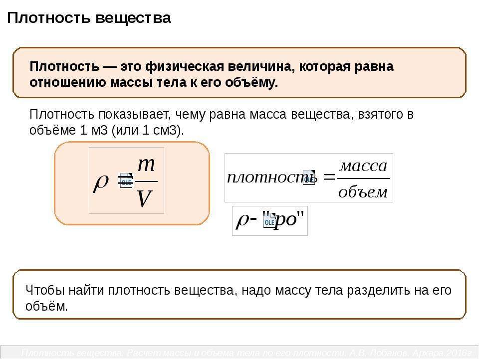 Плотность вещества. Расчет массы и объема тела по его плотности. А.В. Лобано...
