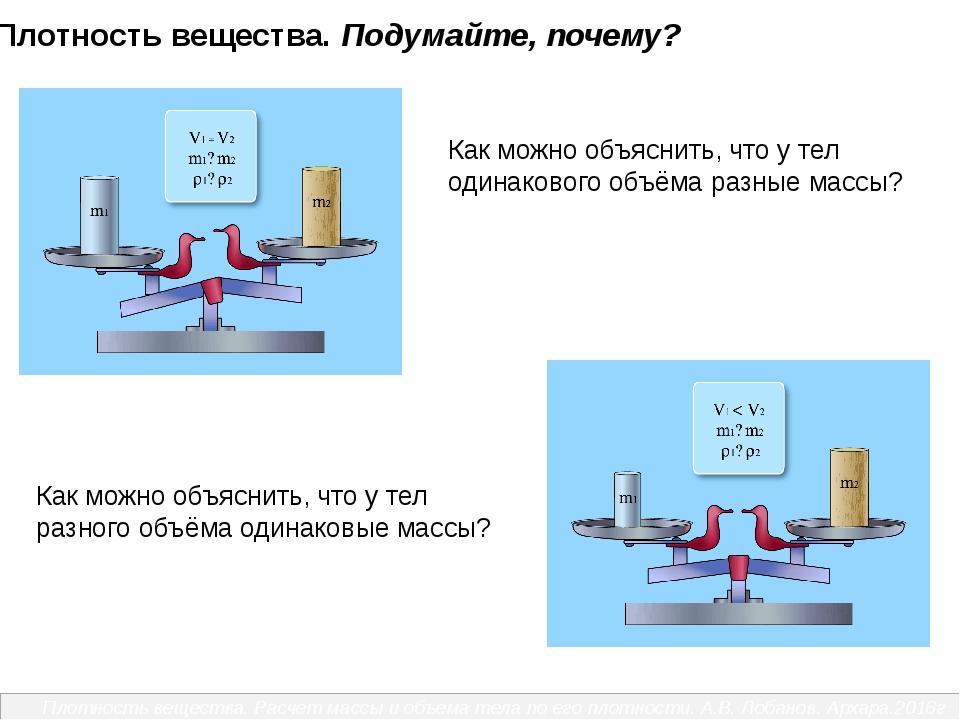Как можно объяснить, что у тел одинакового объёма разные массы? Как можно об...