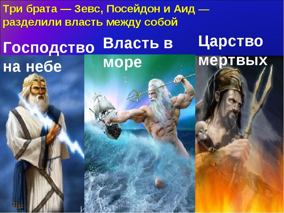Три брата — Зевс, Посейдон и Аид — разделили власть между собой Господство на...